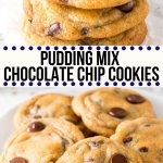 These chocolate chip cookies with pudding mix are the softest, chewiest cookies around. They have golden edges, a delicious caramel flavor, and slightly gooey centers. It's a quick and easy cookie recipe, and there's no need to chill the dough. So pour yourself a tall glass of milk - and let's get baking! #cookies #chocolatechipcookies #puddingcookies #puddingmix #secretingredient #justsotasty #afterschoolsnack #easy #nochill #fromscratch From Just So Tasty