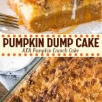 This delicious Pumpkin Dump Cake has a layer of creamy pumpkin pie filling on the bottom and a buttery cake topping with crunchy pecans. Filled with fall flavors and ridiculously easy to make - it's the perfect Thanksgiving dessert #fall #thanksgiving #dumpcake #dessert #pumpkin #pumpkinspice #pumpkindumpcake #easy #cakemix