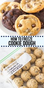 Freezing cookie dough or freshly baked cookies can be a lifesaver - especially around the holidays if you're looking to save on prep time. Learn all the tips and tricks for how to freeze cookie dough for ALL your favorite cookies - like chocolate chip, cut-out cookies, and slice-and-bake. #howto #bakingtips #baking #guides #freezingcookiedough #cookiedough #freeze #chocolatechip #doublechocolate #cookies #recipes #easy