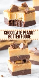 This chocolate peanut butter fudge tastes incredible and is made in the microwave in only a few minutes! It has a layer of creamy chocolate fudge on the bottom, salty-sweet peanut butter fudge on top, and tastes like peanut butter cup! #fudge #fudgerecipe #chocolate #peanutbutter #reeses #easy #microwave #christmas #candy #holidays #gifts from Just So Tasty
