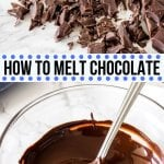 Two easy methods for how to melt chocolate so it's smooth, glossy and perfect for dipping! Use a double boiler on the stove, or learn to melt your chocolate in the microwave - including how to melt chocolate chips. #chocolatechips #baking #tips #chocolate #bakingadvice #kitchen #howto #tutorial #microwave #stove #doubleboiler from Just So Tasty