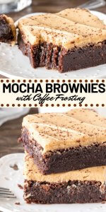 These Mocha Brownies have a delicious coffee flavor and coffee frosting on top. Perfectly fudgy and perfect for coffee lovers! #mocha #coffee #brownies #buttercream #frosting #recipes #easy #fudgy #homemade #coffeebrownies