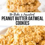 Peanut butter no bake cookies are filled with peanut butter and oatmeal for the perfect chewy cookie recipe. They're insanely easy to make, only 6 ingredients, and completely addictive. #peanutbutter #cookies #nobake #oatmeal #recipes #nobakecookies from Just So Tasty