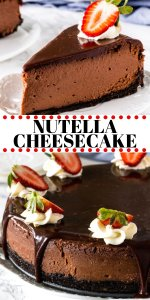This decadent Nutella cheesecake is rich, creamy and filled with Nutella. A truly stunning dessert to impress your guests and satisfy your chocolate cravings!