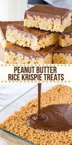 Peanut Butter Rice Krispie Treats are gooey, chewy and perfect twist on the classic Rice Krispies. Made with marshmallows, peanut butter, and a thick layer of chocolate on top! #peanutbutter #ricekrispies #ricekrispietreats #peanutbutterchocolate #nobake #marshmallows #easytreats #kids