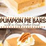 Pumpkin pie without the hassle! These easy pumpkin pie bars have a buttery crust and creamy pumpkin pie filling infused with cinnamon and brown sugar. Perfect for feeding a crowd - they're the perfect Thanksgiving dessert.#thanksgivingdessert #thanksgiving #dessert #pumpkin #pumpkinpie #piebars #easy #pumpkinspice #pie from Just So Tasty