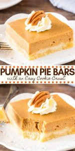 Pumpkin pie without the hassle! These easy pumpkin pie bars have a buttery crust and creamy pumpkin pie filling infused with cinnamon and brown sugar. Perfect for feeding a crowd - they're the perfect Thanksgiving dessert. #thanksgivingdessert #thanksgiving #dessert #pumpkin #pumpkinpie #piebars #easy #pumpkinspice #pie from Just So Tasty