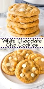 These white chocolate chip cookies are extra soft, super chewy, and filled with delicious white chocolate in every bite. Switch up your chocolate chip cookies by making this delicious white chocolate variety. An easy, no chill, cookie recipe! #whitechocolate #chocolatechipcookies #whitechocolatechipcookies #cookies #recipes #easy #soft #chewy #fromscratch #nochill from Just So Tasty