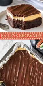 These fudgy, boozy Baileys brownies are the perfect grown-up dessert. With a layer of Irish cream frosting and Irish cream ganache on top! #baileys #brownie #irishcream #christmas #adult #easy #stpatricks #holidays #dessert #recipe from Just So Tasty