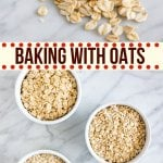 Quick oats vs rolled oats? If you've ever made oatmeal raisin cookies or homemade granola bars you've probably wondered what type of oatmeal to use, why it matters, or if you can just leave out the oats altogether. Learn all about baking with oats, and why oats are such an important ingredient in so many recipes.#howto #guide #recipes #oats #oatmeal #baking #tips #oatmealrecipes