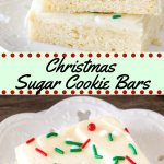 Save time this holiday season with this easy Christmas sugar cookie bars. They're extra soft with a thick layer of frosting, and way less work than sugar cookies! #christmascookies #christmas #easy #cookies #holidays #cookieexchange #frosting #holidays #baking Recipe from Just So Tasty