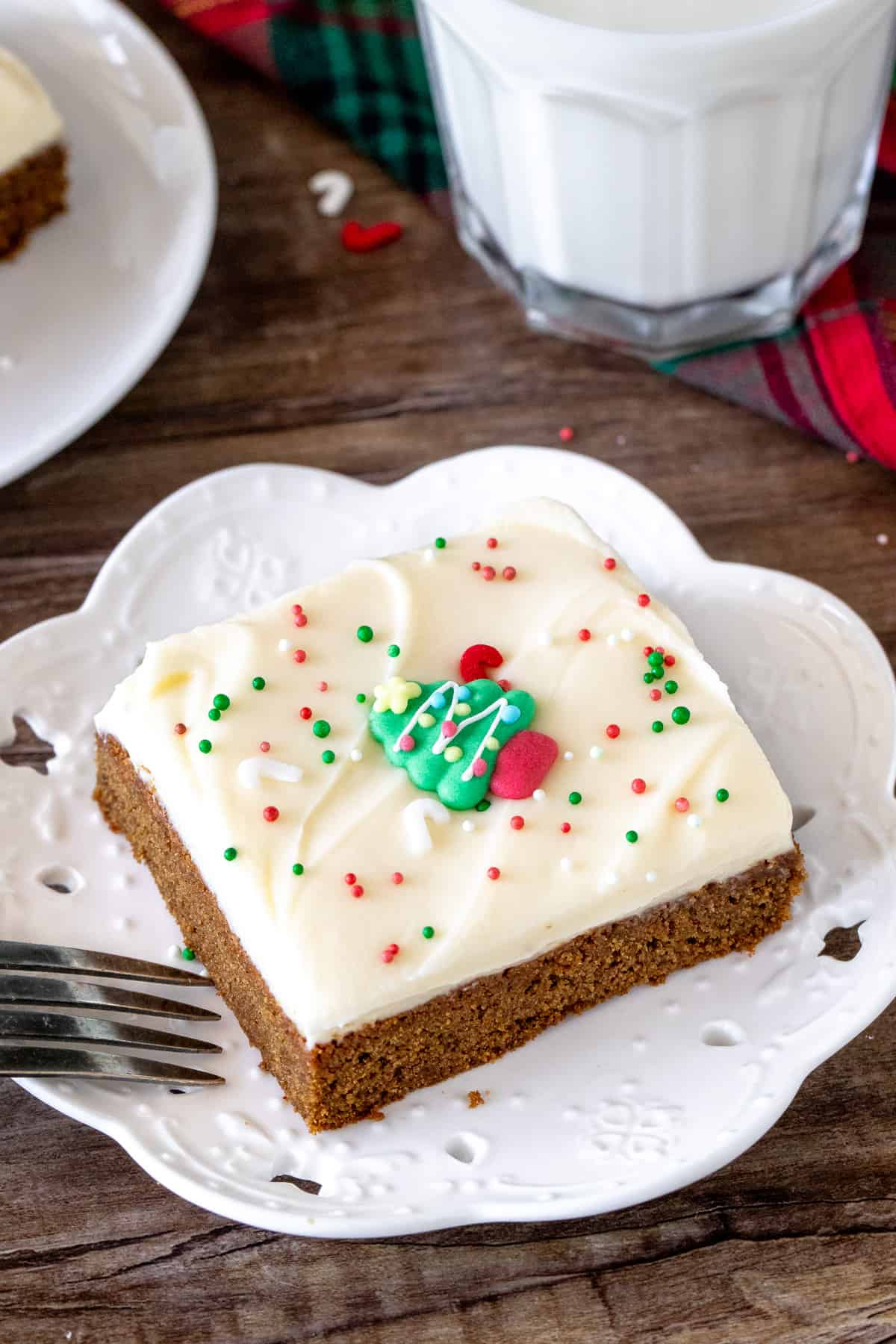 Slice of gingerbread bar with frosting