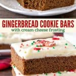 Collage of 2 photos of gingerbread cookie bars