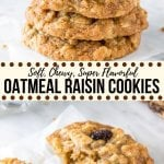 These classic oatmeal raisin cookies are made with brown sugar, cinnamon, vanilla and lots of oats. They're soft and chewy, never dry, and definitely win in the flavor and texture categories for the perfect, homemade oatmeal raisin cookie.#oatmealraisin #cookies #easy #oldfashioned #homemade #cinnamon #chewy #soft #recipe #flavorful #oats #rolledoats