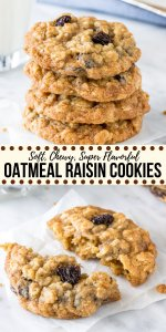 These classic oatmeal raisin cookies are made with brown sugar, cinnamon, vanilla and lots of oats. They're soft and chewy, never dry, and definitely win in the flavor and texture categories for the perfect, homemade oatmeal raisin cookie. #oatmealraisin #cookies #easy #oldfashioned #homemade #cinnamon #chewy #soft #recipe #flavorful #oats #rolledoats