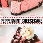 This creamy peppermint cheesecake has an Oreo cookie crust and chocolate ganache topping. The texture is smooth and velvety without being too dense, and the flavor is a delicious creamy peppermint that's perfect for the holidays. #peppermint #candycane #cheesecake #chocolate #christmas #dessert #holidays from Just So Tasty