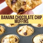 These banana chocolate chip muffins are moist, fluffy, buttery and filled with chocolate chips. They taste like a warm slice of banana bread; have perfectly domed, golden muffin tops; and have just the right amount of chocolate chips. #bananamuffins #banana #muffins #chocolatechips #chocolate #recipe #easy #bananabread recipe from Just So Tasty