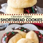 These chocolate-dipped shortbread cookies are butttery, melt-in-your mouth morsels of deliciousness. Perfect for your Christmas cookie tray or whenever you need a classic, easy shortbread recipe. #shortbread #cookies #chocolate #easy #holidays #Christmas