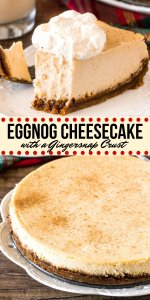 This creamy Eggnog Cheesecake has a luxurious texture, gingerbread crust, and deliciously spiced eggnog flavor. It's a stunning dessert for your Christmas dinner parties or family celebrations. #eggnog #cheesecake #dessert #christmas #baking #gingersnap #dinnerparty #holidays #baking from Just So Tasty