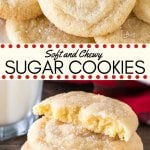 These chewy sugar cookies are buttery, soft, and perfectly tender. It's a drop-style cookie - so instead of rolling out the dough and cutting it into shapes, the dough is formed into balls and rolled in sugar. There's no chilling involved, and you end up with delicious sugar cookies that are chewy and oh so flavorful.#cookies #sugarcookies #easy #drop #chewy #soft #christmas #cookieexchange #holidays
