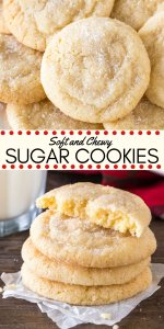 These chewy sugar cookies are buttery, soft, and perfectly tender. It's a drop-style cookie - so instead of rolling out the dough and cutting it into shapes, the dough is formed into balls and rolled in sugar. There's no chilling involved, and you end up with delicious sugar cookies that are chewy and oh so flavorful. #cookies #sugarcookies #easy #drop #chewy #soft #christmas #cookieexchange #holidays