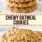These chewy oatmeal cookies are soft, packed with texture, and have a delicious caramel flavor with a hint of cinnamon. The cookie dough comes together in under 15 minutes, and you don't have to chill the dough.#cookies #oatmeal #easy #chewy #soft #brownsugar #homemade #oatmealcookies