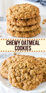 These chewy oatmeal cookies are soft, packed with texture, and have a delicious caramel flavor with a hint of cinnamon. The cookie dough comes together in under 15 minutes, and you don't have to chill the dough. #cookies #oatmeal #easy #chewy #soft #brownsugar #homemade #oatmealcookies