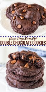 Double chocolate chip cookies are extra soft and oozing with chocolate chips. These cookies are thick, chewy, gooey and taste somewhere in between a brownie and a cookie.#doublechocolate #chocolatechip #cookies #easy #gooey #soft #chewy #doublechocolatechipcookies #fromscratch