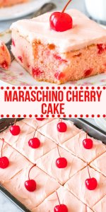 This homemade maraschino cherry cake has a moist, buttery-soft texture, beautiful pink color and delicious cherry flavor. The cake uses both chopped maraschino cherries and maraschino cherry juice, along with maraschino cherry juice in the frosting. Perfect for Valentines day and oh so pretty! #cherrycake #maraschinocherries #valentinesday #dessert #cake #easy #cherries #frosting