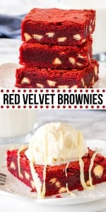 Fudgy, chewy red velvet brownies that have the most beautiful red color and are filled with white chocolate chips. They have the perfect red velvet flavor with just a hint of cocoa powder - so they're not too rich and taste incredible. #redvelvet #brownies #whitechocolatechips #brownie #recipe #fromscratch #easy #chewy #whitechocolate #valentines #best #homemade