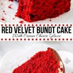 This red velvet bundt cake is moist and tender with the perfect red velvet flavor thanks to just a hint of cocoa powder. It's topped with cream cheese glaze, and looks truly stunning with its beautiful red cake crumb. #redvelvet #desserts #bundt #bundtcake #creamcheese #easy #homemade #fromscratch #valentinesday #cake from Just So Tasty