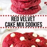 These Red Velvet Cake Mix Cookies are soft, chewy & filled with white chocolate chips. There's only 4 ingredients and they're the perfect easy red velvet cookie for Christmas or Valentine's! #redvelvet #cakemix #cookies #easy #valentines #christmas #christmascookies #easyrecipes #chocolatechips #whitechocolatechips