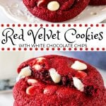 These red velvet chocolate chip cookies have the most delicious red velvet flavor and are filled with white chocolate chips. They turn out soft and chewy with a beautiful red color makes them perfect for Valentine's Day, Christmas or whenever you're craving red velvet.#redvelvet #cookies #desserts #valentinesday #whitechocolate #redvelvetcookies #easy #christmas from Just So Tasty
