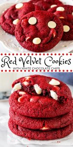 These red velvet chocolate chip cookies have the most delicious red velvet flavor and are filled with white chocolate chips. They turn out soft and chewy with a beautiful red color makes them perfect for Valentine's Day, Christmas or whenever you're craving red velvet. #redvelvet #cookies #desserts #valentinesday #whitechocolate #redvelvetcookies #easy #christmas from Just So Tasty