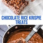 Crispy, crunchy, chewy gooey - these chocolate Rice Krispie treats have a delicious milk chocolate, marshmallow flavor. They're the perfect twist on classic Rice Krispies. #ricekrispies #chocolate #marshmallows #gooey #ricekrispietreats #nobake