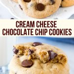 Get ready for the softest, chewiest, melt in your mouth cookies ever. If you've never made cookies with cream cheese in the batter - then you definitely need to try these cream cheese chocolate chip cookies. #cookies #creamcheesecookies #chocolatechipcookies #chocolatechip #chewy #soft #secretingredient #easy #recipe from Just So Tasty