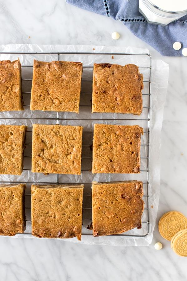 Blondies on a cooling rack.