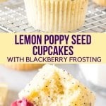 Moist and tender, these lemon poppy seed cupcakes are bursting with a fresh lemon flavor and filled with tiny, crunchy poppy seeds. The blackberry frosting tastes like biting into fresh berries, and the beautiful color combination makes these absolutely stunning. #cupcakes #spring #summer #lemon #poppyseed #blackberry #frosting #lemonpoppyseed from Just So Tasty