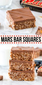 What do you get when you melt together chocolate bars and mix them with Rice Krispies? These delicious, no-bake Mars Bar Squares aka Mars Bar Slice. They're gooey, crunchy, topped with milk chocolate and absolutely addictive. #nobake #ricekrispies #ricebubbles #nobake #marsbars #chocolatebars #ricekrispies #easy #treats