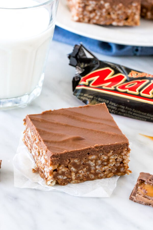 Mars bar slice, made with rice bubbles and topped with chocolate.