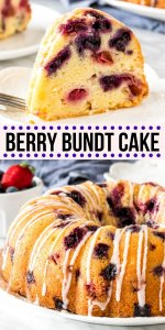 This berry bundt cake is buttery, tender and filled with juicy berries in every bite. It's not too sweet and perfect for a brunch, afternoon tea, or dessert. Fill it with blueberries, strawberries, raspberries, or a combination of your favorites. #berrybundtcake #bundtcake #berries #strawberries #raspberries #blueberries #bundtcake #bundt #poundcake
