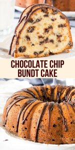 Moist, buttery chocolate chip bundt cake has a delicious vanilla flavor, tons of chocolate chips and is drizzled with chocolate ganache. The perfect combo of chocolate and vanilla in this delicious pound cake! #poundcake #bundtcake #chocolatechip #chocolateganache from Just So Tasty