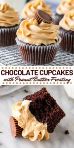 If you love chocolate and peanut butter - then these Chocolate Cupcakes with Peanut Butter Frosting are for you. They start with super moist chocolate cupcakes that have a soft cupcake crumb and rich chocolate flavor. Then they're topped with fluffy peanut butter frosting.#cupcakes #chocolate #peanutbutter #chocolatecupcakes #peanutbutterfrosting #peanutbuttercups from Just So Tasty