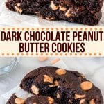 These dark chocolate peanut butter cookies are thick, extra fudgy, and have a rich chocolate flavor. One part brownie + one part chocolate cookie + one part peanut butter = one extra delicious cookie! #levianbakery #darkchocolatepeanutbutterchip #chocolatecookies #peanutbutterchip #cookies #bakery from Just So Tasty