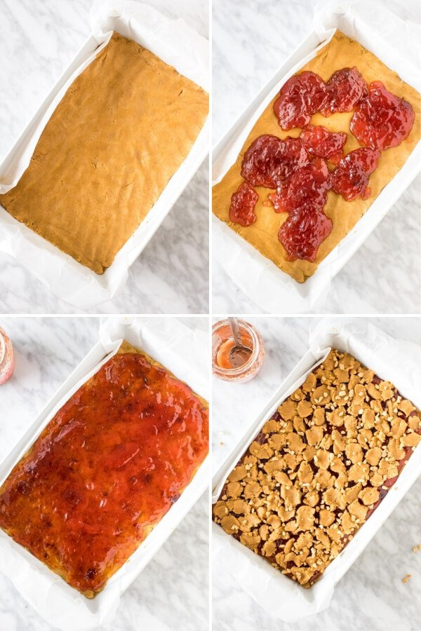 4 step-by-step photos of how to assemble peanut butter and jelly bars.