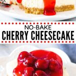 These no bake cherry cheesecake bars are the perfect summer dessert. Made with only a few simple ingredients, they take less than 20 minutes to make. They have a crunchy graham cracker crust, creamy cheesecake filling & sweet cherry topping. Always a crowd-pleaser at BBQs or potlucks. #nobake #cherrycheesecake #cheesecake #cherries #cherrypiefilling #nobakecheesecake #easy #whippedcream from Just So Tasty
