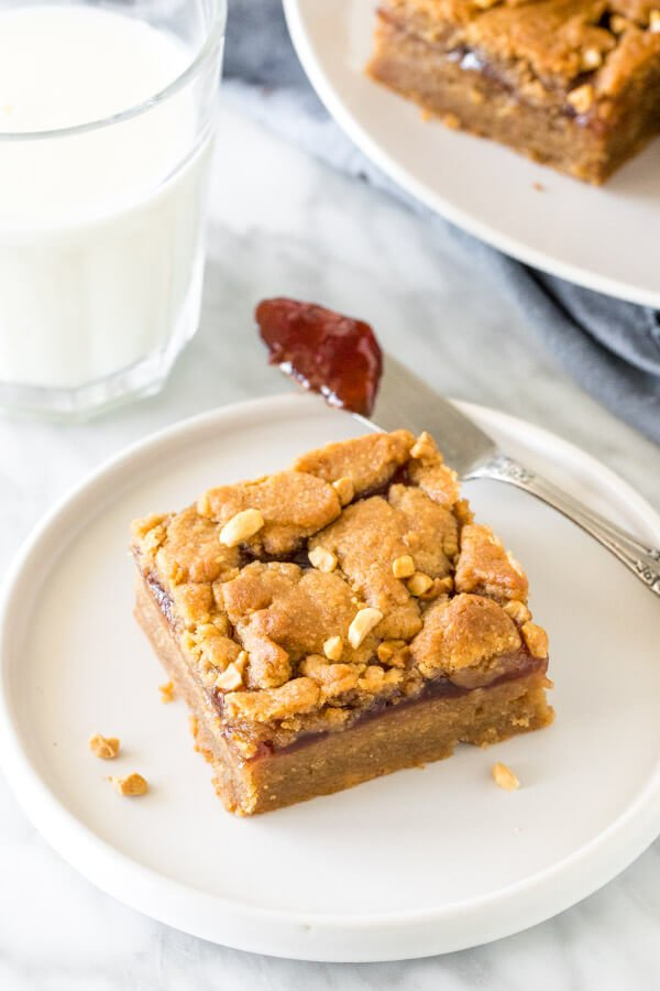 Peanut butter and jelly square on a plate with a glass of milk.