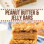 These peanut butter and jelly bars are a fun spin on a classic. Super chewy peanut butter cookie dough with a layer of strawberry jam in the middle, and even more peanut butter cookie dough on top. Not too sweet and totally addictive. #peanutbutterandjelly #bars #peanutbutterbars #jelly #jam from Just So Tasty