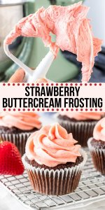 Learn how to make the best strawberry buttercream frosting. This frosting can be made with fresh or frozen berries and turns out extra creamy with a delicious, real strawberry flavor. It pipes beautifully on cakes or cupcakes and tastes delicious on vanilla, strawberry or chocolate cake. #strawberry #frosting #buttercream #fresh #frozen #berries from Just So Tasty