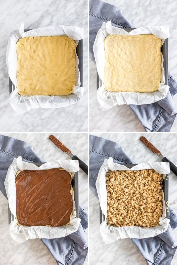 Collage showing 4 steps of assembling nutella crumb bars.